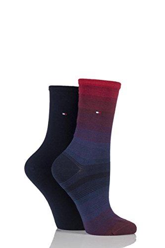 ladies-2-pair-tommy-hilfiger-ombre-graded-stripe-cotton-socks-midnight-blue-25-5-ladies