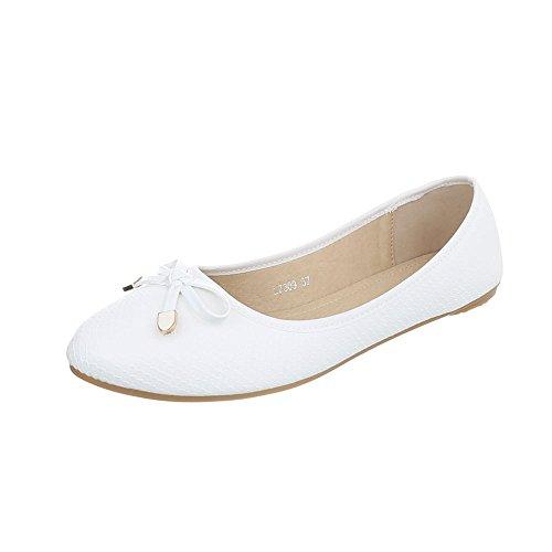 Klassische Ballerinas Damen-Schuhe Geschlossen Moderne Ital-Design Ballerinas Weiß, Gr 40, L7309-
