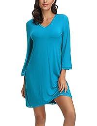 Zexxxy Damen Nachthemd 3/4 Arm Kurzarm V-Ausschnitt Lace Nachtkleid Schlafkleid