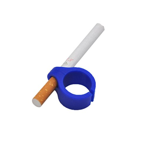 Familizo Soin du Tabac au Doigt en Silicone, Cigarette de Support de Main de Doigt D'anneau de Silicone Pour Fumeur Régulier (Bleu, Diamètre pour la cigarette:8mm)
