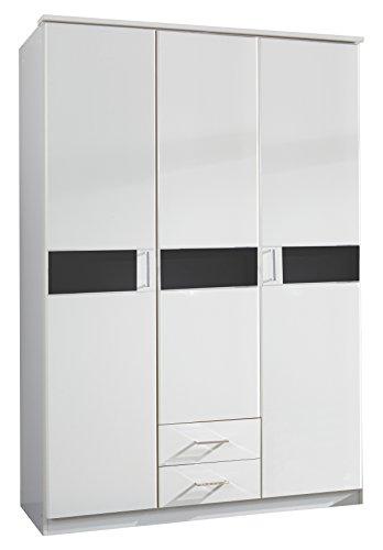 Wimex T06472 3 türiger Kleiderschrank, Holz, alpinweiß / absetzungen glas schwarz, 135 x 58 x 197 cm