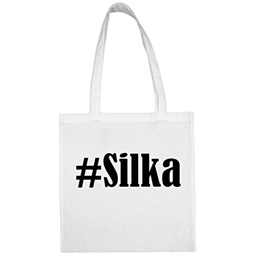 Tasche#Silka Größe 38x42 Farbe Weiss Druck Schwarz
