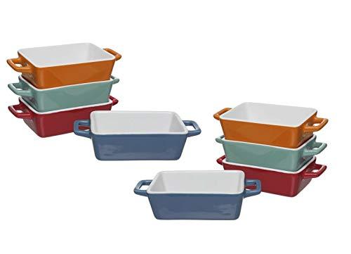 Invero Lot de 8 Mini Plats rectangulaires en grès pour Four à Table Idéal pour Lasagne, tartes, cocottes, Tapas et Plus Encore