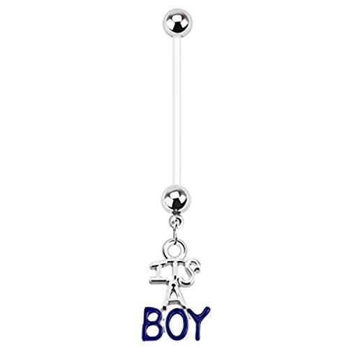 Its A Boy Schwangerschaft Bauch Bar Ring flexibel Bauch (Body Bar Flex)