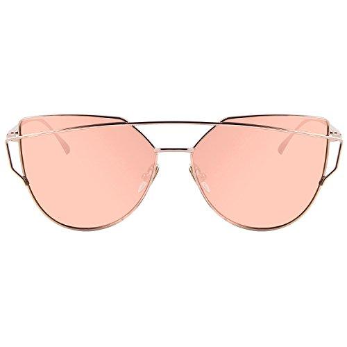 SRANDER Damen Mode Polarisierte Sonnenbrille UV400 reflektierenden verspiegelte Linse (rosa Linse)