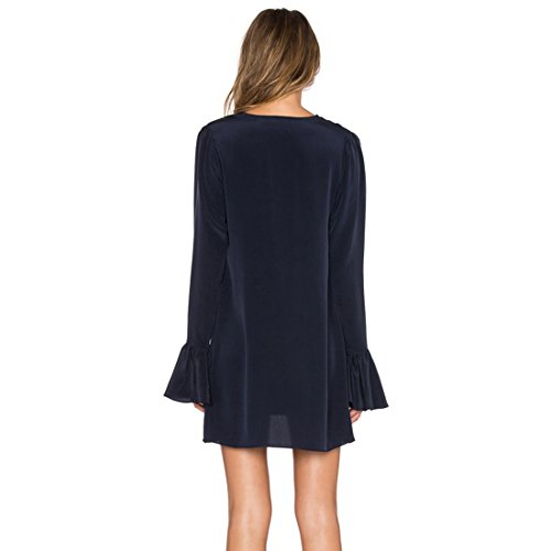 QIYUN.Z Les Femmes Bleu Marine Slim A-Ligne Mini-Robe Manches Longues De Falbala Jupe Profond Col V Bleu Marin