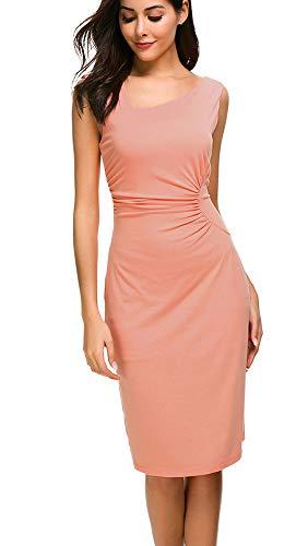 Top-Vigor Frauen Elegante V-Ausschnitt Blumendruck halbe Hülse kalte Schulter beiläufiges Midi-Kleid Cocktail-Hochzeits-Gast-Abnutzung, Rosa#10, L,Rosa#10,L - Kalte Schulter Kleid