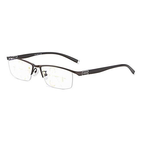 RXBFD Progressive Multi-Focal-Lesebrille, Blaulicht-Schutzbrille, Legierung Rahmen Halb umrandet Lesebrille, Nicht polarisierte Modeleser, Nicht verschreibungspflichtige Unisex-Brille