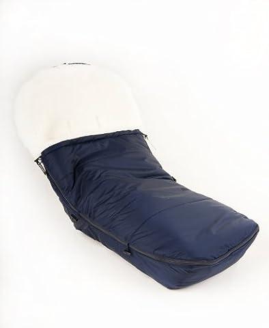 Kaiser 6810522 - Fußsack für Marke Bugaboo Cameleon, Lammfell weiß, Farbe: marine