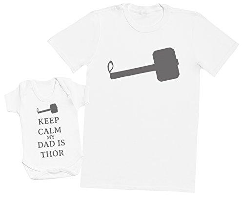Keep Calm My Dad is Thor - Ensemble Père Bébé Cadeau - Hommes T-Shirt & Body bébé - Blanc - Large & 3-6 Mois