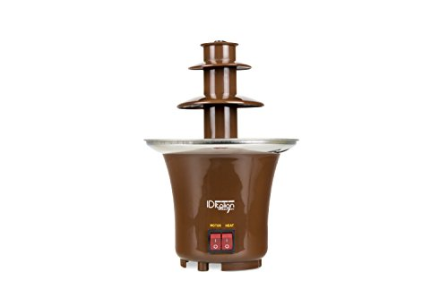 ITALIAN DESIGN  Fuente de Chocolate - Chocolatera Eléctrica de 65W, base de Acero Inoxidable, Marrón.
