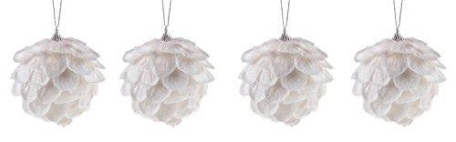 Clever creations - decorazioni albero di natale infrangibili - pigne con brillantini - set da 4 pezzi - 8 cm