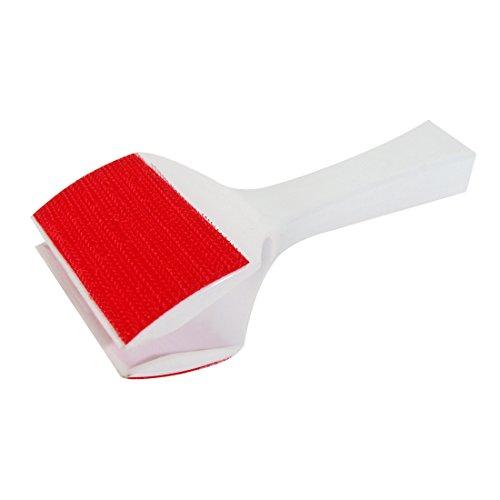 MSV 100317 Brosse Anti Peluches Double Face, Plastique/Hips/Térylène, Blanc/Rouge, 2 cm