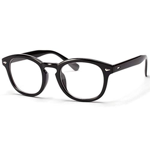 BAACHANG Männer und Frauen Runde Brillengestell - Retro Flat Lens Goggles (Farbe : Brilliant Black)