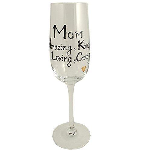 Cadeau Mom Champagne Flûte en verre (Noir/Argent)