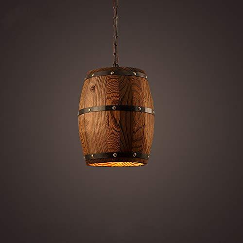 WENYAO Massivholz Weinfass Kronleuchter Retro Bar Stehtisch Restaurant Fabrik Lager Holzfass Einzel E27 Dekoration Lampen 26 * 33 cm Diverse (Größe: 26 * 33 cm)