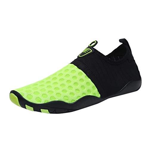 Meer Grüne Farbe Net (Hausschuhe Wasser Strand für Schwimmschuhe Pool Frauen Männer Sport Mesh Sneaker Schwimmen für Meer Tauchen Socken Yoga Angeln Schuhe (Farbe : Grün, Size : 39))