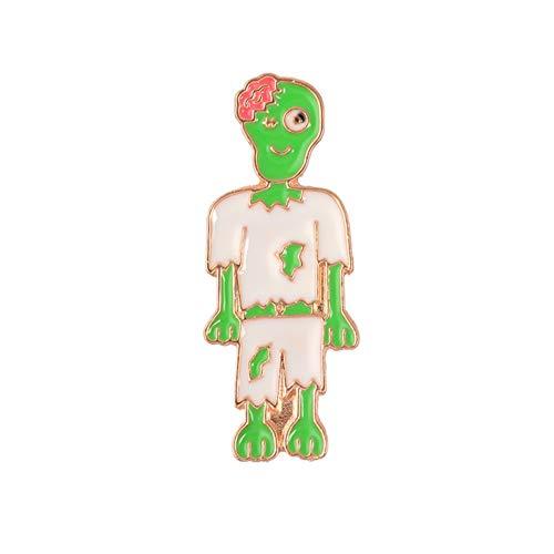 Zombie Kostüm Verband - JTXZD Brosche Glücklich ! Tag der Toten Karikatur-netten Zombie-Familien-Skeleton Schädel-Verband-Mama-Gespenst-Emaille-Broschen-Stifte