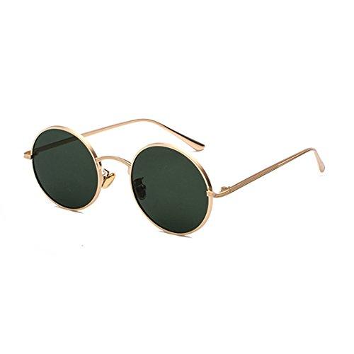 Inlefen Runde Metallrahmen Gläser Vintage Kreis Sonnenbrille für Männer und Frauen,Gold Dunkelgrün,57