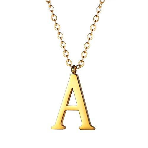 delstahl Buchstabe A Alphabet Charme Anhänger Halskette Fashion Anfangsbuchstabe Modeschmuck mit 55cm Rolokette Gold ()