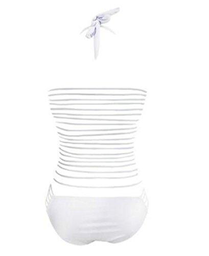 NTNT Sommer Sexy Riemchen Ausgeschnitten Halfter Ein Stück Bademode Badebekleidung Weiß