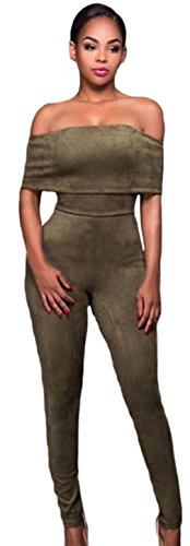 La Vogue Combinaison Pantalon Moulant Suédé Bustier Jumpsuit Femme Vert