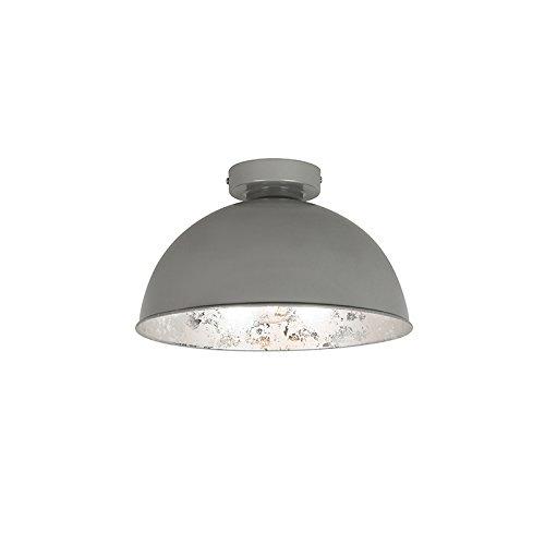 QAZQA Landhaus/Vintage/Rustikal Deckenleuchte/Deckenlampe/Lampe/Leuchte grau mit silber 30 cm - Magna Basic/Innenbeleuchtung/Wohnzimmerlampe/Schlafzimmer/Küche Stahl Rund LED geeigne
