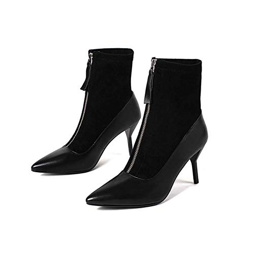Frauen Boots Ladies Zipper Pointed Toe Stiletto Red Black High Heels Sexy Ankle Frauen Stiefel Party Shoes Platform Faux Lace Boots,Schwarz,34EU -