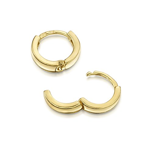 Amberta® 925 Sterling Silber Vergoldet 18K Edle Ringe mit Scharnierbügel - Kleine Runde Klapp-Creolen Ohrringe - Durchmesse 10 mm