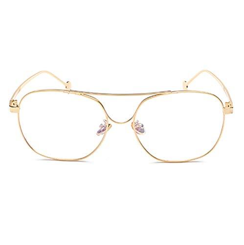 Honneury Brillengestell aus Metall mit dünnen flachen Gläsern Student Brillen Durchsichtige Brillen Nicht rezeptpflichtig (Color : Gold)
