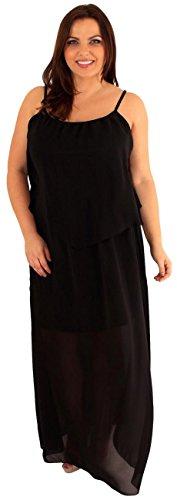 Damen Übergröße Träger, lang, Chiffon, 2-lagig 24 Maxi-Kleid Schwarz - Schwarz