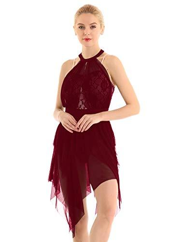 YiZYiF Damen Eiskunstlauf Kleid Lyrischer Tanzkleid Spitze Ballettkleid Ballett Trikot Body mit Mesh Rock Turnanzug Gymnastikanzug Tanz-Kostüm Burgund Large