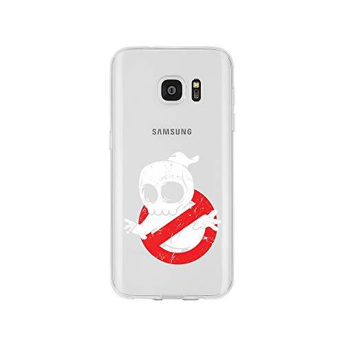 licaso Samsung S7 Handyhülle Smartphone Samsung Case aus TPU mit Spooky Ghost Logo Print Motiv Slim Design Transparent Cover Schutz Hülle Protector Soft Aufdruck Lustig Funny Druck (Happy Halloween Transparentes Logo)