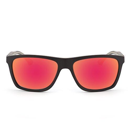 Retro Spiegel Wayfarer Sonnenbrille Platz Reflektierend Linsen Gummi Tempel Dame Herre Rot