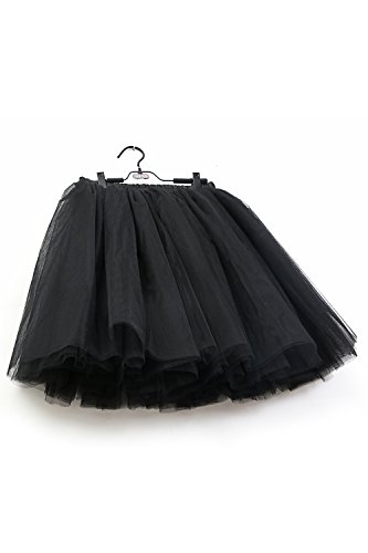 MisShow Damen Rockabilly Tüll Petticoat Reifrock Unterrock Petticoat Underskirt für Rockabilly Kleid One Size 50CM-Läng Schwarz