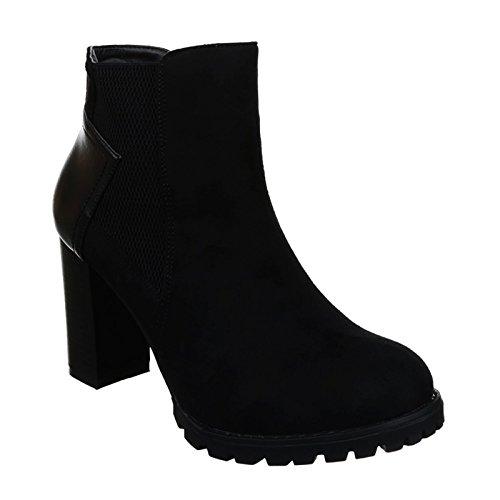 Damen Stiefeletten Ankle Boots Blockabsatz Plateau 68 (37, Schwarz 38)