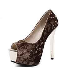 NobS Señoras Mujeres Tacones Altos Boca Del Pez Boca Baja Sandalias Plataforma A Prueba De Agua Tacones Altos Sandalias Zapatos Zapatos De Suede Casual , apricot , 38