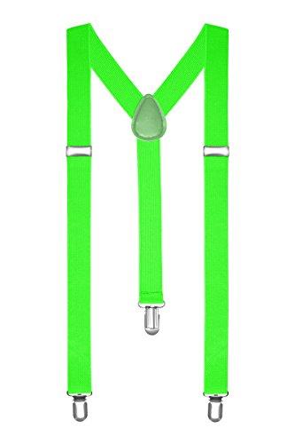 Autiga Hosenträger Herren Damen Hosen Träger Y Form Style Clips Schmal Neon Bunt Farbig, Neongrün, unisize Neon-grüne Hose