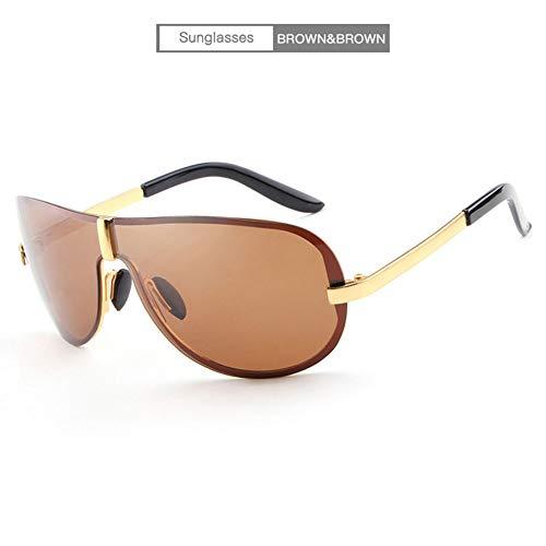 YongFeng Neue Klassische rahmenlose Modesonnenbrille - spiegelpolarisierte Sonnenbrille für Männer JF (Color : Brown Frame)