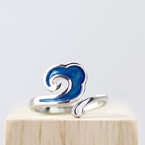 Damen 925 Sterling Silber Ring, Blau Epoxy Cloud Sky Design Einfache Neuheit Romantische Mode Paar Finger Ring Frau Männer, Geschenk Jahrestag Hochzeit Engagement Engagement Brautschmuck