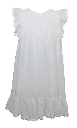 PUTZELI ZL1949 - Mädchen Kleid Schmetterlingärmel Frühling Sommer (Weiß, 110) (Mädchen Kleider Frühling)