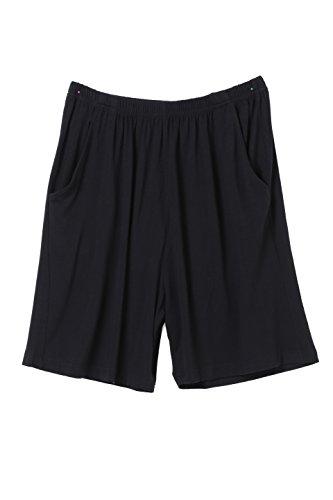 JeVenis Herren Sommer Comfort Nachtwäsche Kurzarm Pyjama Trainingsanzug Set Shorts und Top Set Schwarz