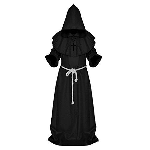 Moyen Age - Robe Medieval-Cape Medieval Capuchon Monk Costume Friar Priest Cosplay Costume-Noir/Blanc - Noir , M