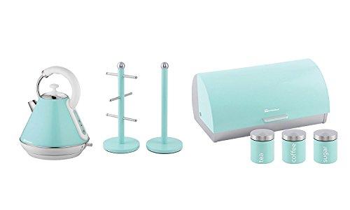 Geschenk-Set von: Wasserkocher, Brotkorb, 3Kanister und Becherbaum und Küchenrollenhalter Ständer Set in Hellblau, Rosa oder mint grün 28 x 23 x 22.8 cm mintgrün