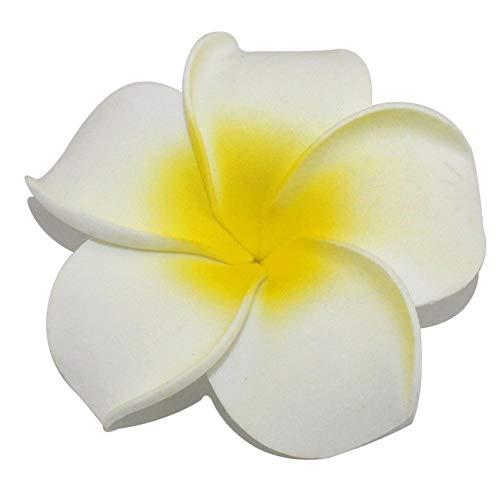 (100Künstliche Hawaiian Plumeria Schaumstoff Frangipani Blume Haar Clip für Hochzeit Party Home Tisch Dekoration Romance Dia 9cm/8,9cm)