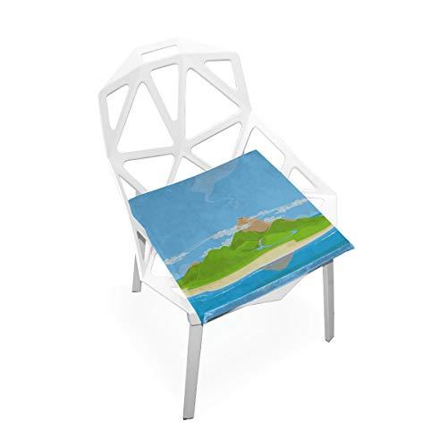 Enhusk Inseln Kleine Strand Ozean Benutzerdefinierte Weiche rutschfeste Platz Memory Foam Stuhlkissen Kissen Sitz Für Home Küche Esszimmer Büro Schreibtisch Möbel Innen 16x16 Zoll -