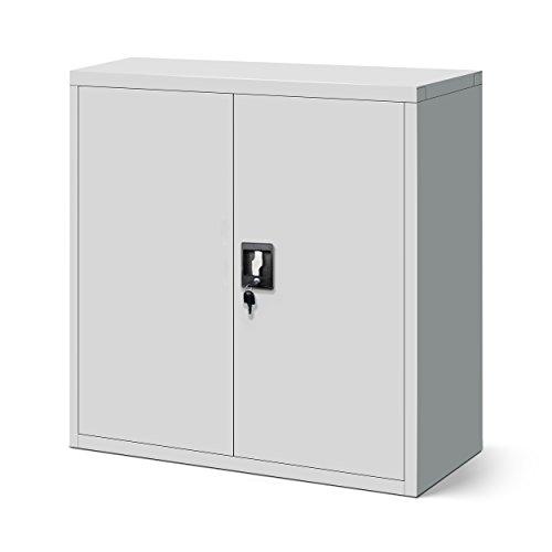 Kleiner Aktenschrank grau, solide Stahlblech-Konstruktion