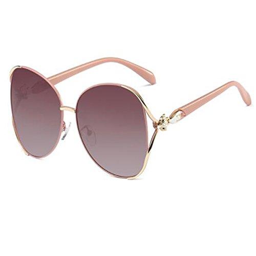 Polarisierte Sonnenbrille Rundes Gesicht Sonnenbrille Frauen Flut Gläser Große Box Quadratisches Gesicht Langes Gesicht UV400 Schutz,Brown