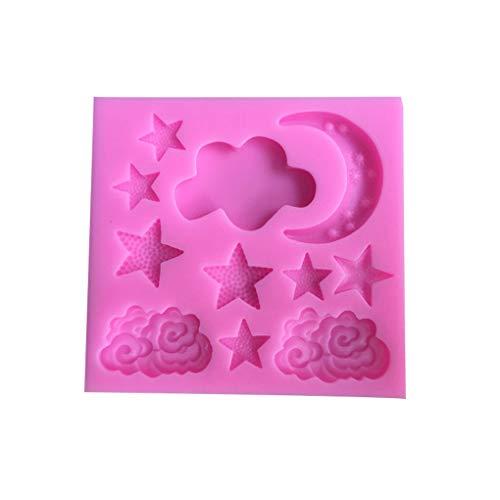 Windy5 Cloud-Stern-Mond-Silikon-Form-Heißluft-Ballon-Fondant Chocolate Fudge Kuchen-Form-Regenbogen-Wolke Sugar Mold zufällige Farbe
