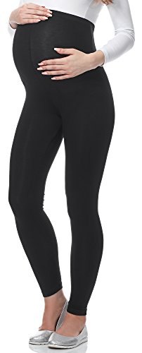 Be Mammy Lange Umstandsleggings aus Viskose BE-02 (Schwarz, S)